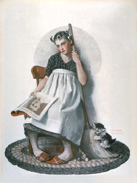 Girl Broom Kitten By Norman Rockwell Art Reproduction from Wanford