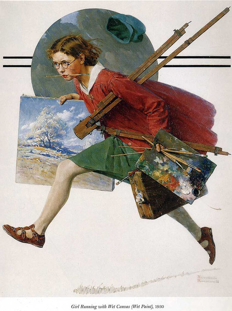 Girl Running With Wet Canvas By Norman Rockwell Art Reproduction from Wanford