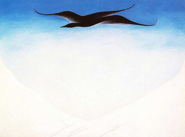 A Black Bird With Snow Covered Red Hills By Georgia O Keeffe