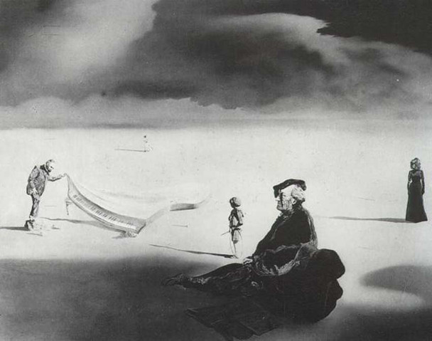 A Chemist Lifting With Extreme Precaution The Cuticle Of A Grand Piano By Salvador Dali