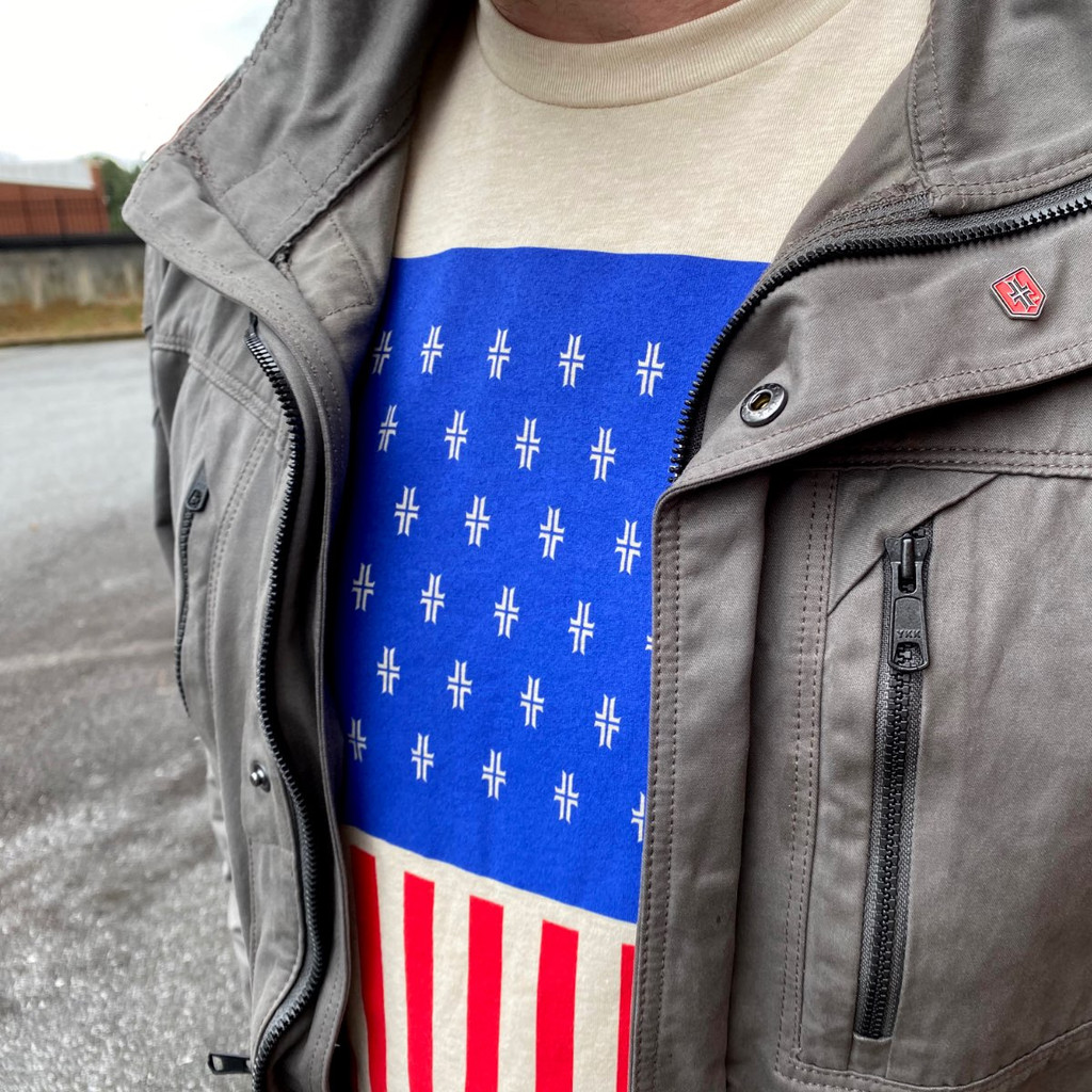 Flag T-Shirt - USA / Sand