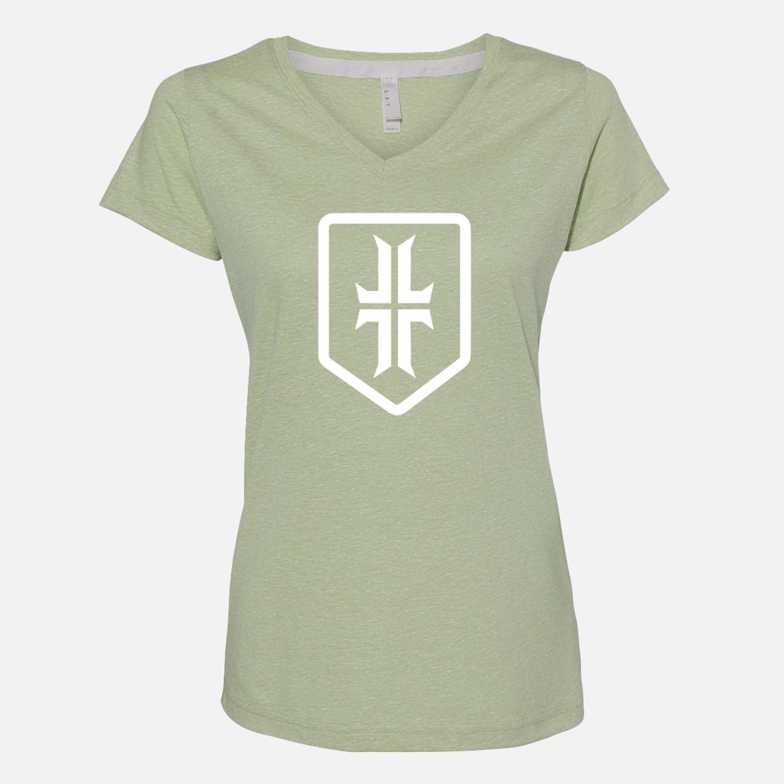 Women's Shield T-Shirt - Melange Green / White