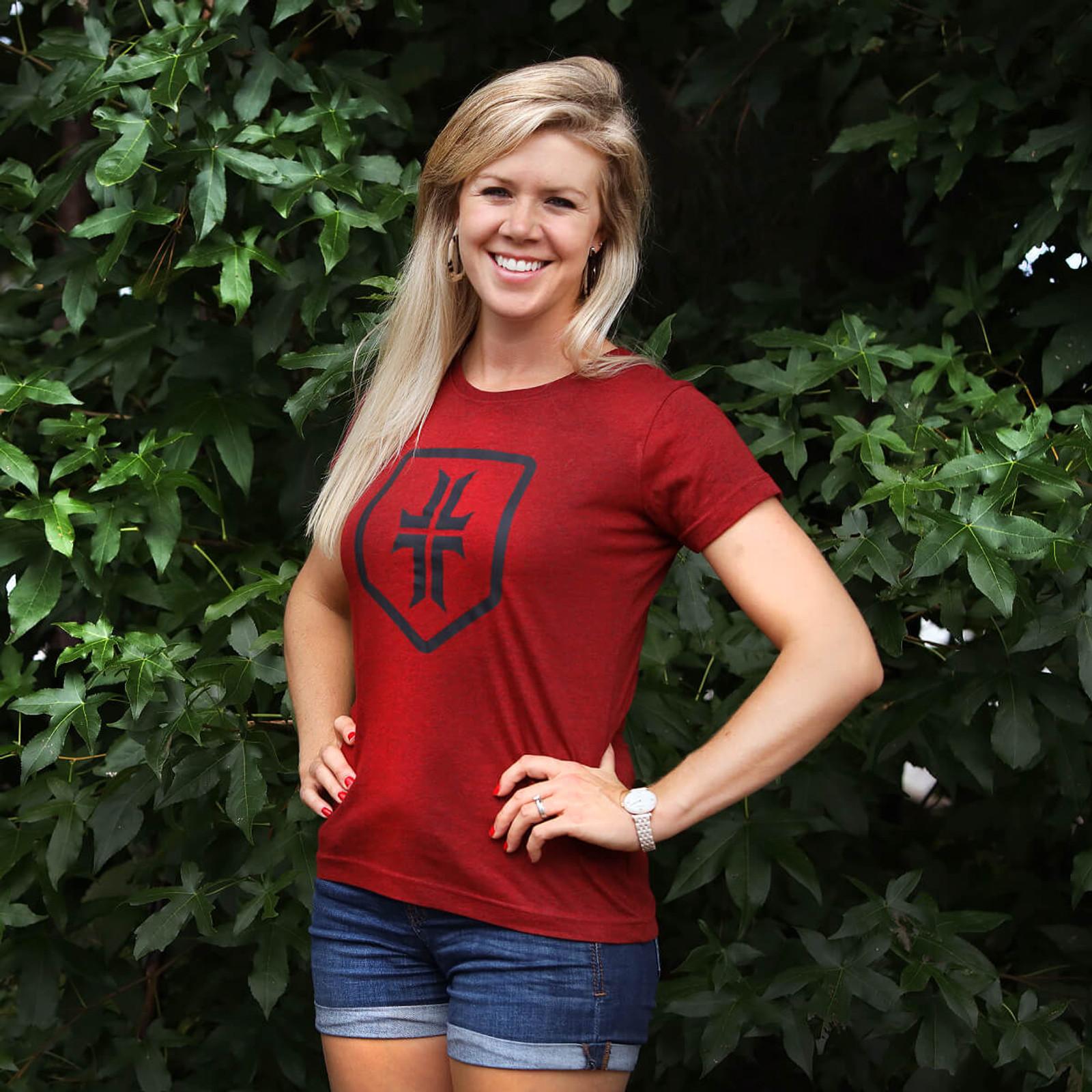 Women's Shield T-Shirt - Cardinal / Black
