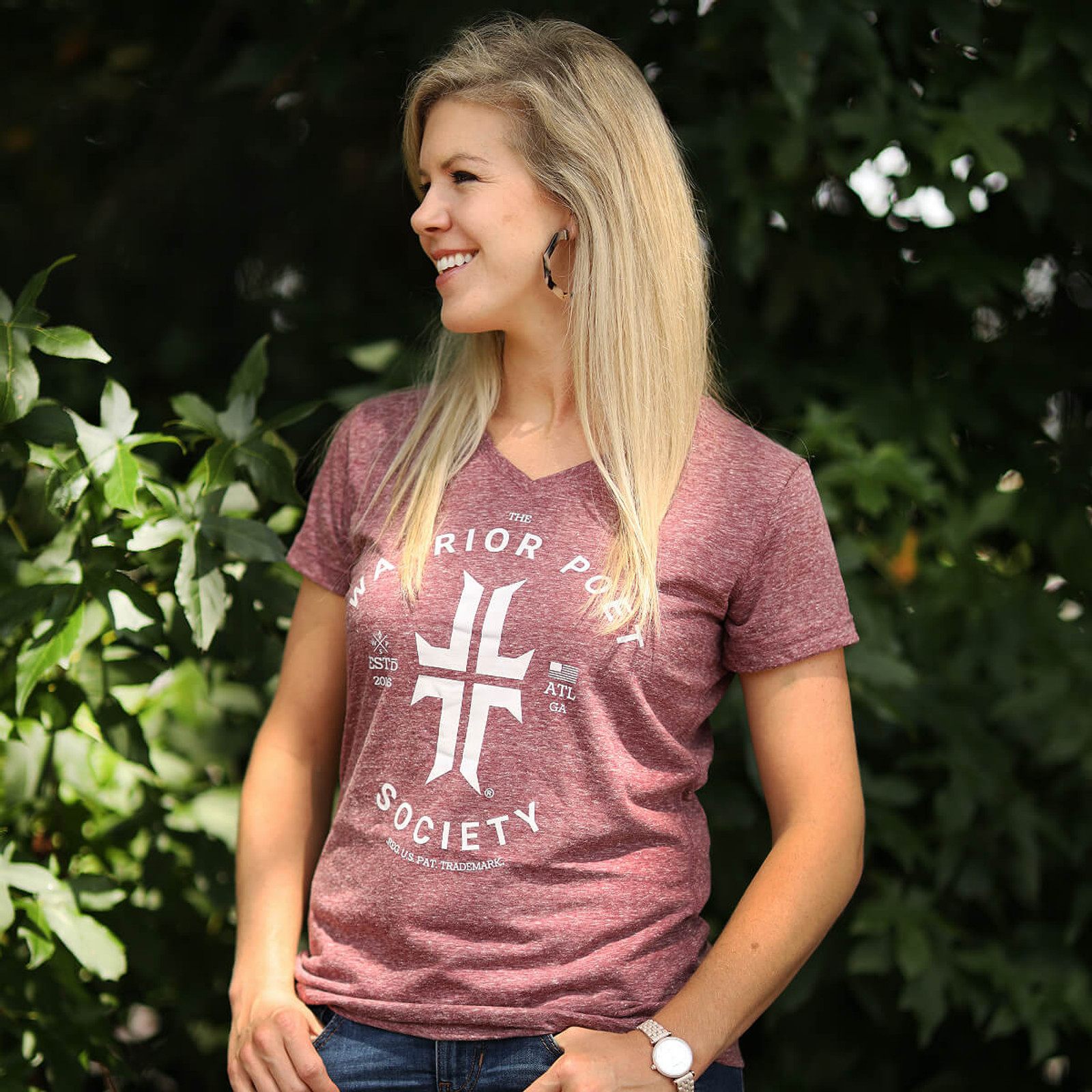 Women's Trademark T-Shirt - V-Neck - Rose / Grey