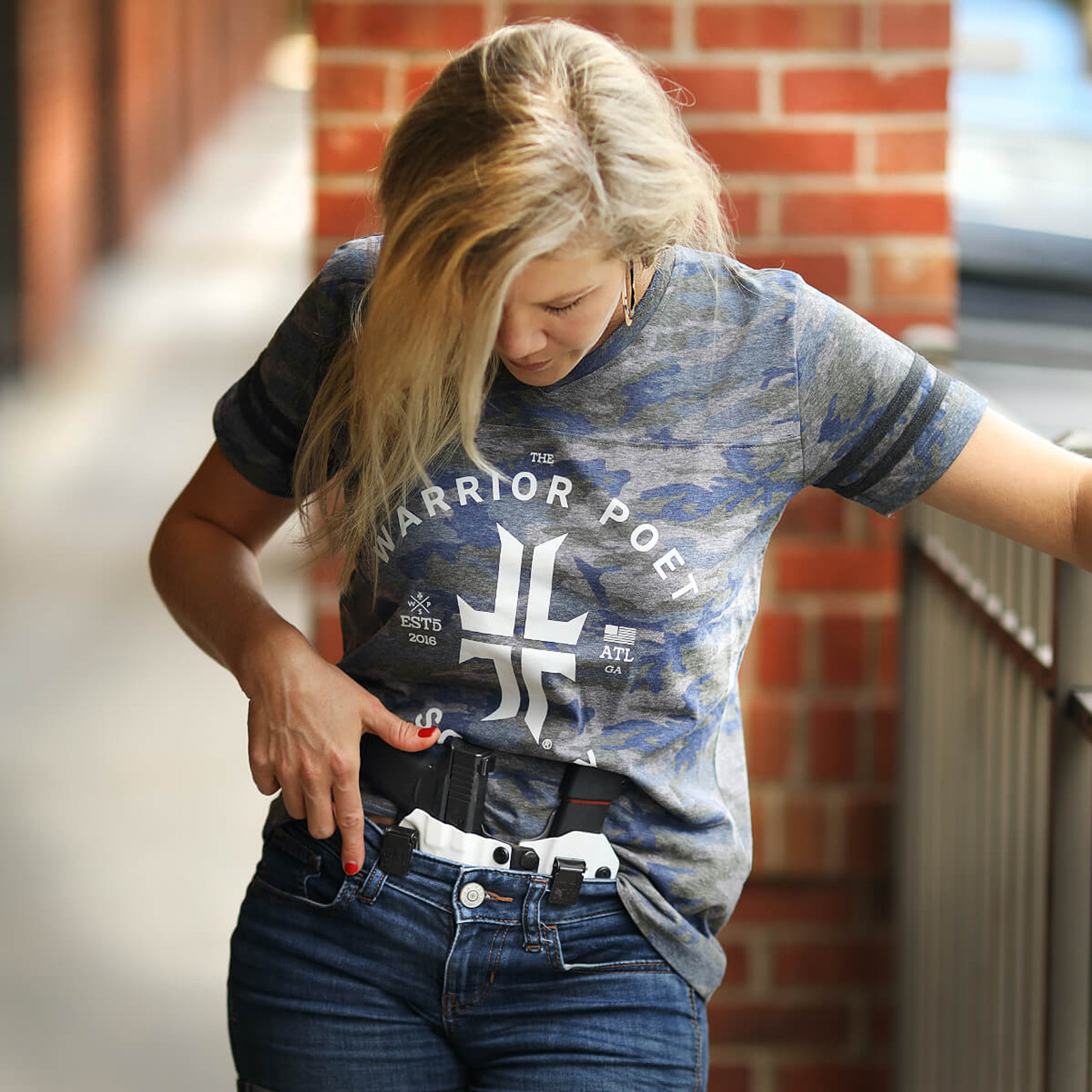 Women's Trademark T-Shirt - V-Neck Jersey - Camo / Grey