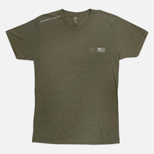 Flag & Badge T-Shirt - Green / Grey
