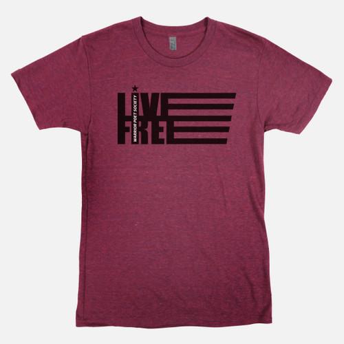 Live Free T-Shirt - Cardinal / Black