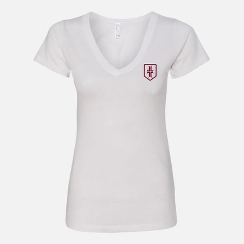 Women's Shield T-Shirt - V-Neck - White / Maroon