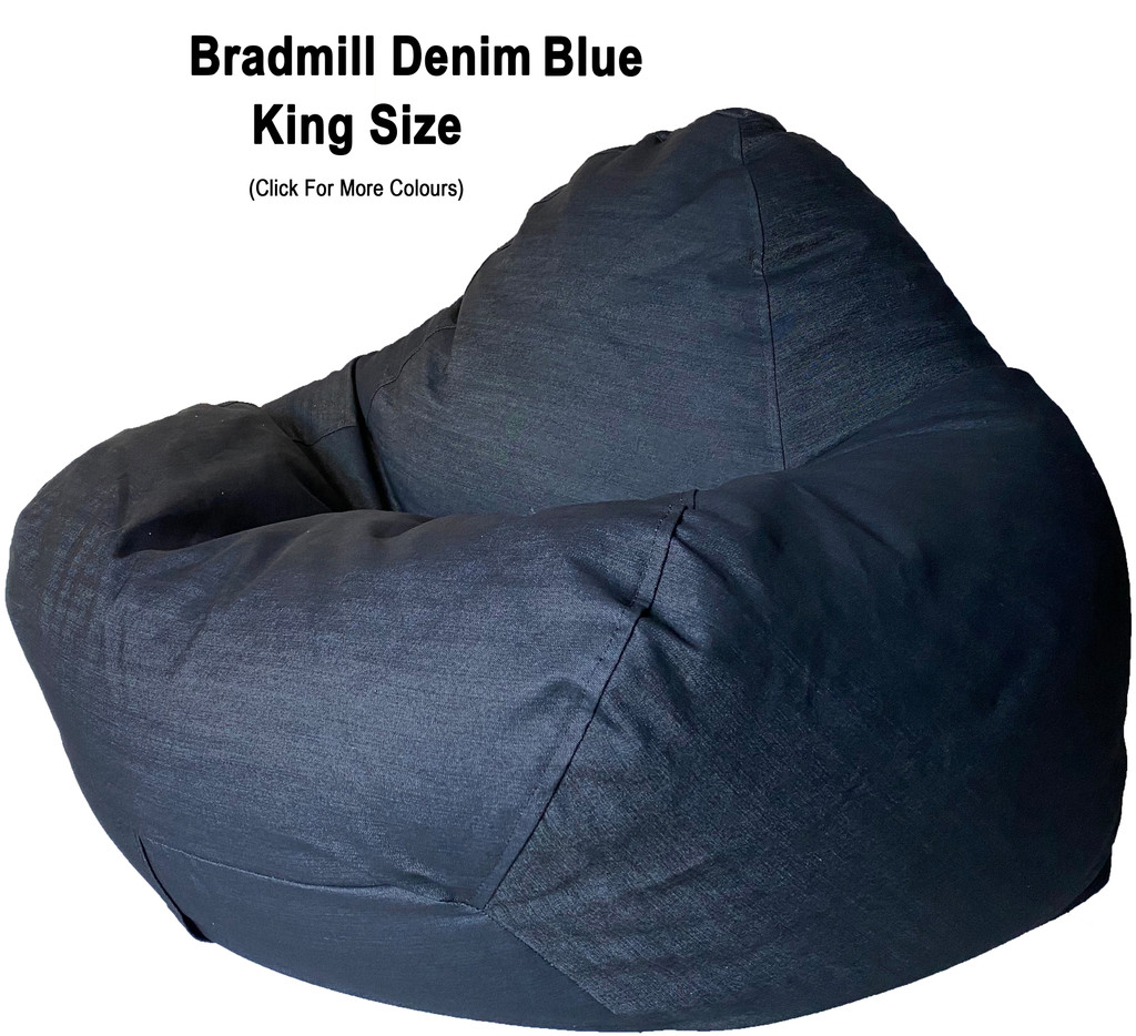 Bradmill Denim King Bean Bag in blue