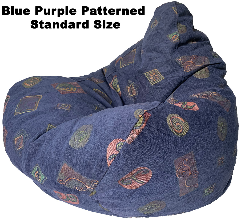 BLUE/PURPLE PATTERNED BEANBAG STANDARD SIZE