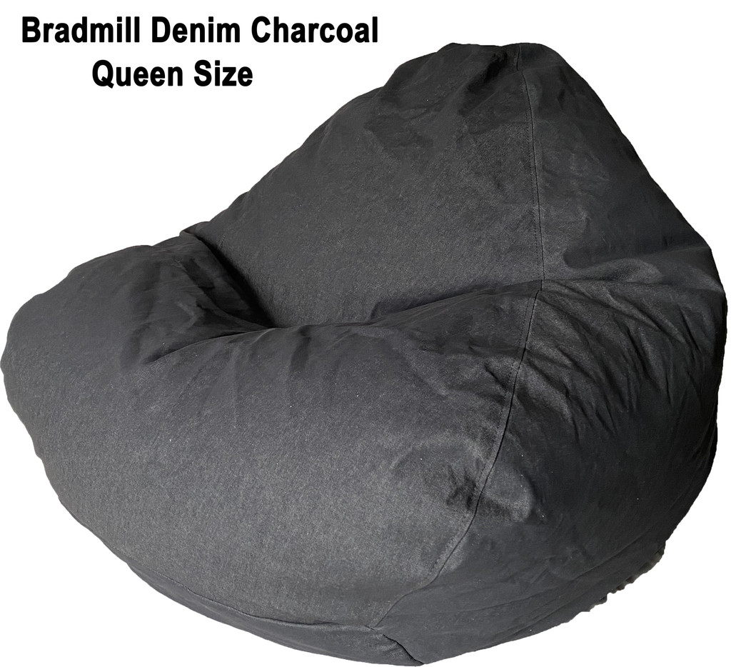 Bradmill Denim Queen Bean Bag in Charcaol