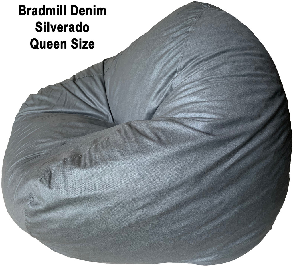 Bradmill Denim Queen Bean Bag in Silver