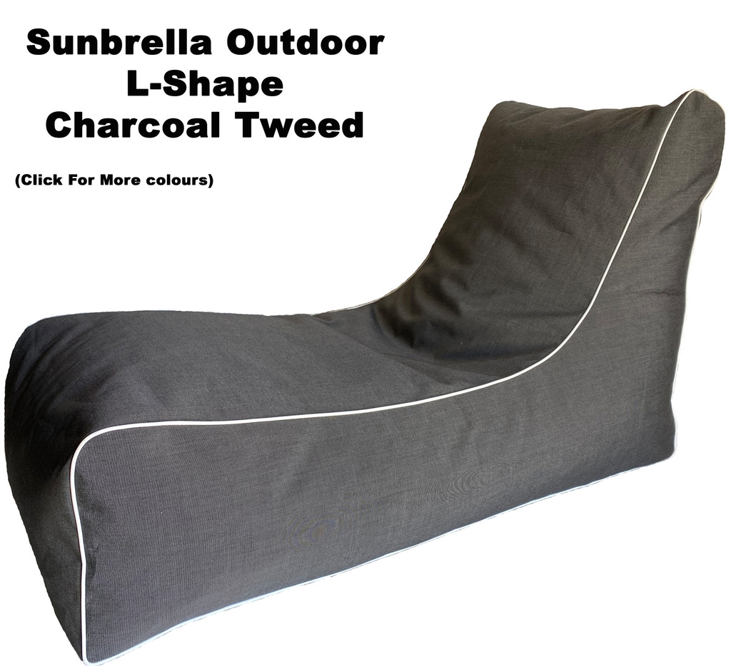 Sunbrella Outdoor L-Shape Charcoal Tweed Bean Bag