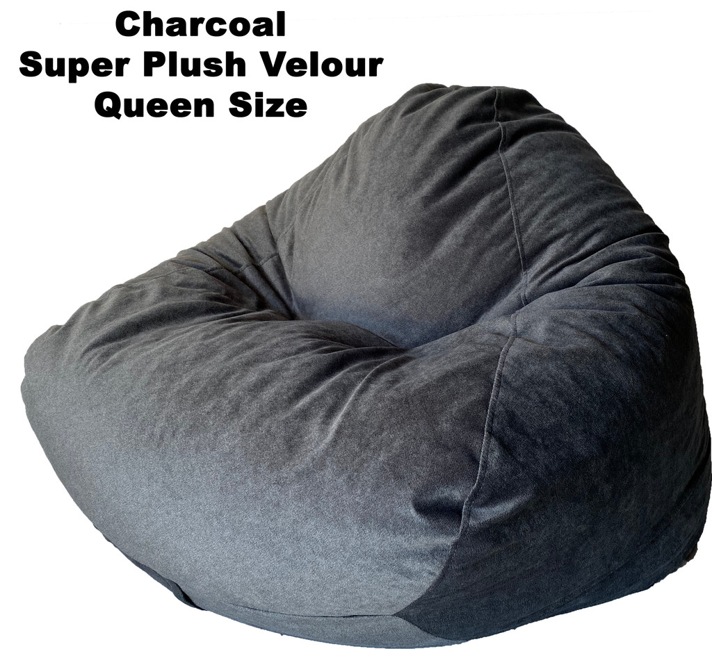 Charcoal Super Plush Velour Queen Size
