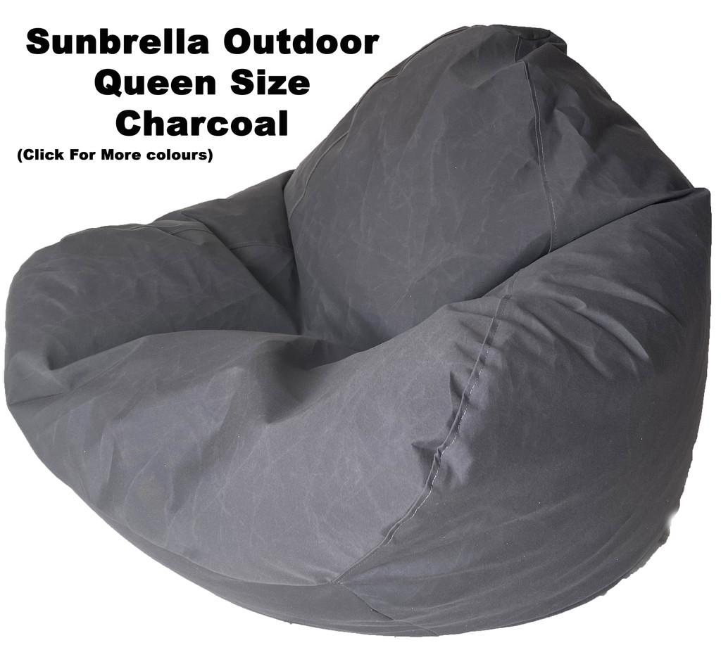 Sunbrella Outdoor Charcoal Queen Size Bean Bag In Assorted Colours.