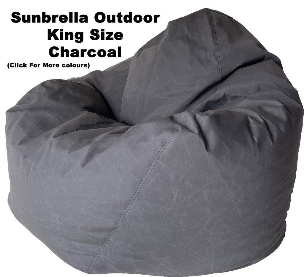 Sunbrella Outdoor Charcoal King Size Bean Bag In Assorted Colours.