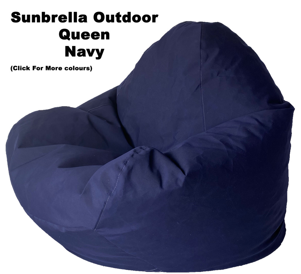 Sunbrella Outdoor Navy Queen Size Bean Bag In Assorted Colours.