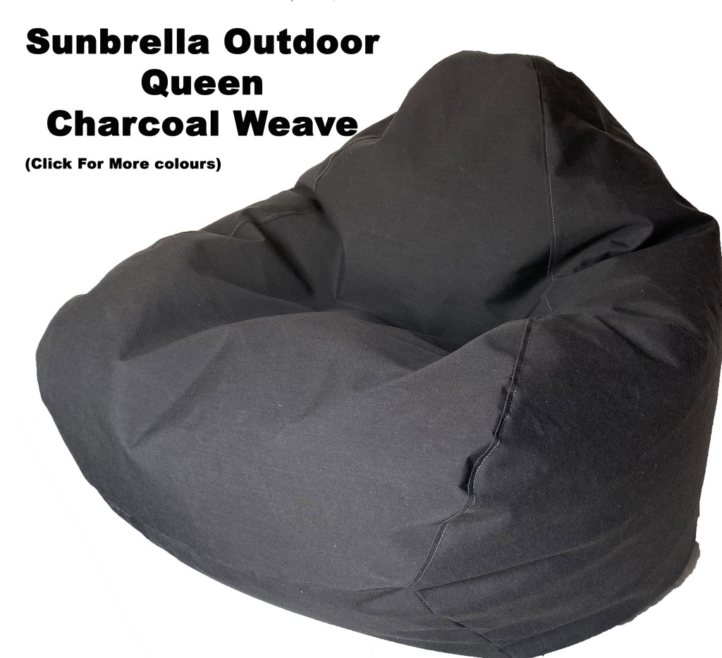 Sunbrella Outdoor Charcoal Weave Size Bean Bag In Assorted Colours.