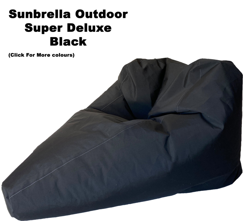 Sunbrella Outdoor Black Super Deluxe Size Bean Bag In Assorted Colours.