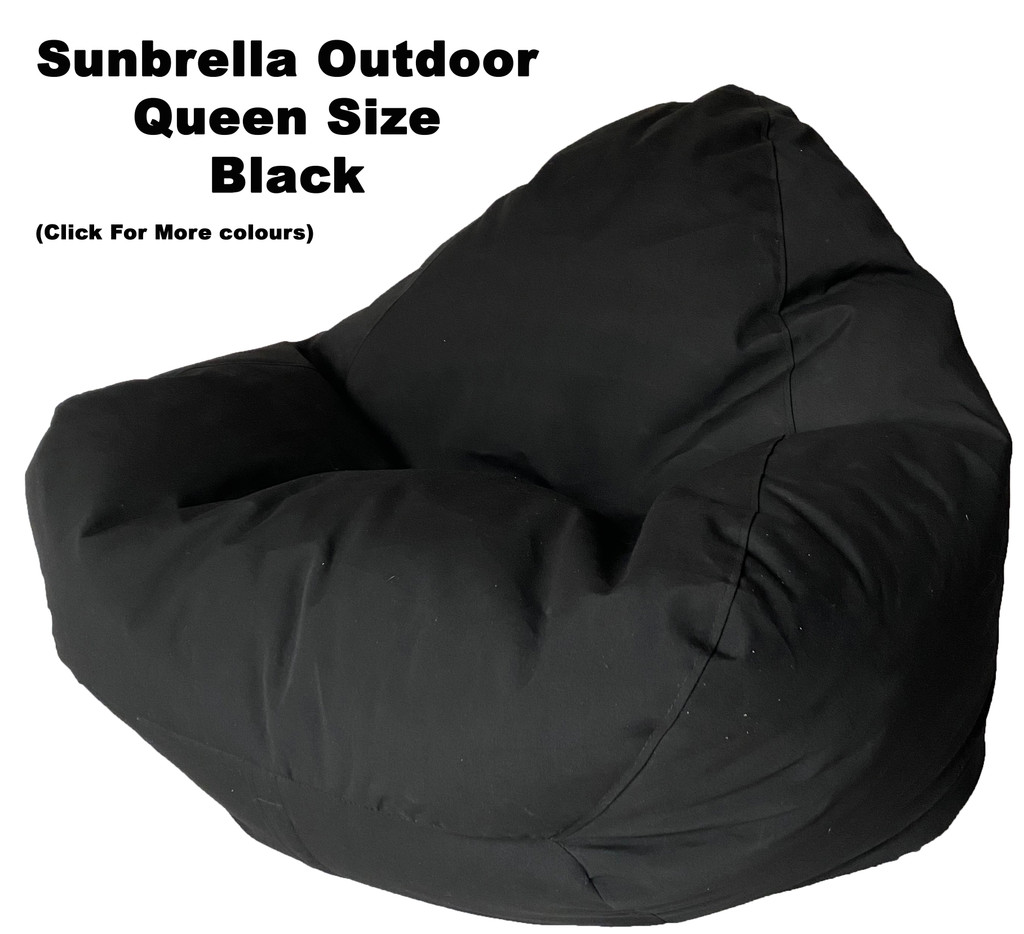 Sunbrella Outdoor Black Queen Size Bean Bag In Assorted Colours.
