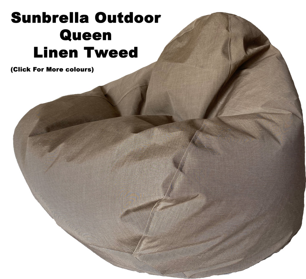 Sunbrella Outdoor Linen Tweed Queen Size Bean Bag In Assorted Colours.