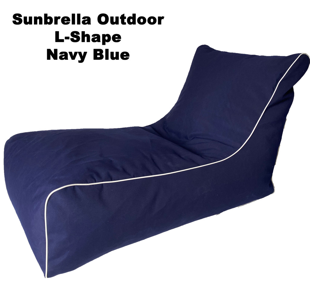 Sunbrella Outdoor L-Shape Navy Blue Bean Bag