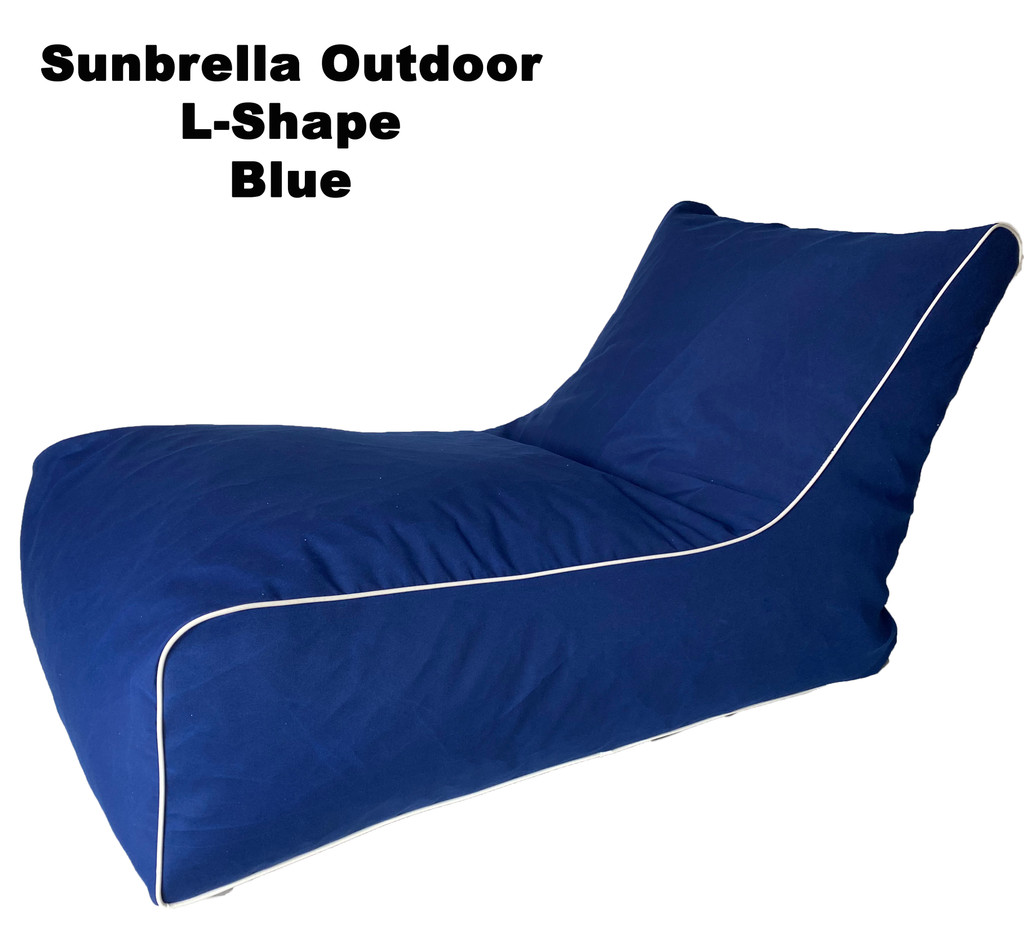 Sunbrella Outdoor L-Shape Blue Bean Bag
