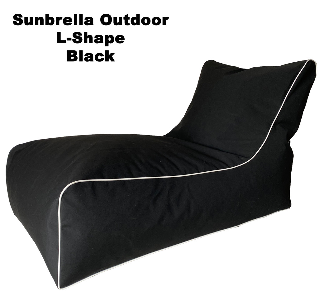 Sunbrella Outdoor L-Shape Black Bean Bag