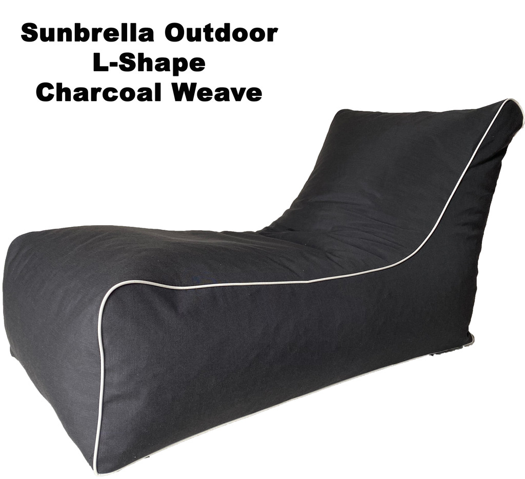 Sunbrella Outdoor L-Shape Charcoal Weave Bean Bag