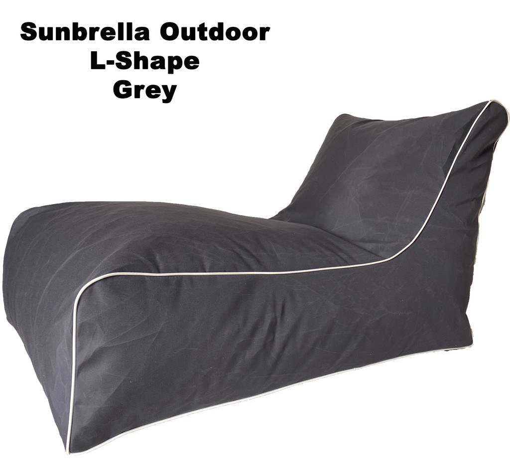 Sunbrella Outdoor L-Shape Grey Bean Bag