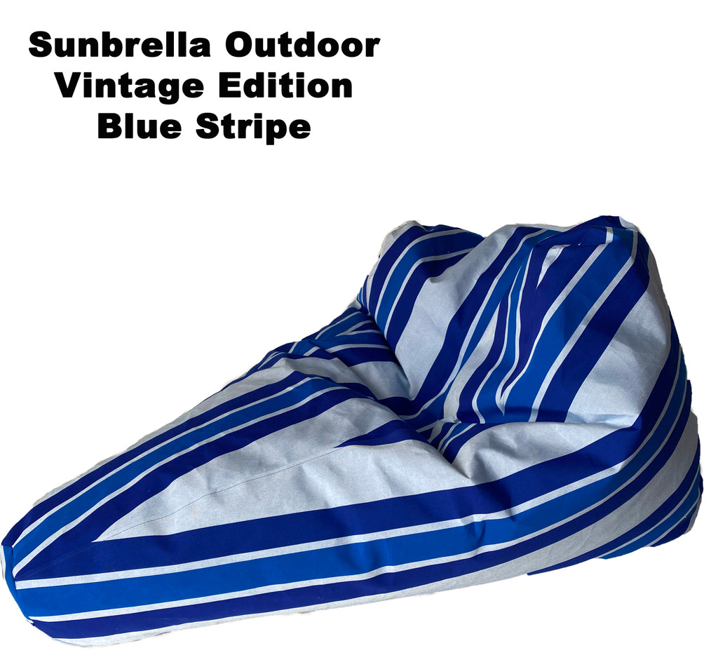 Sunbrella Outdoor Deluxe Vintage Edition Bean Bag In Blue