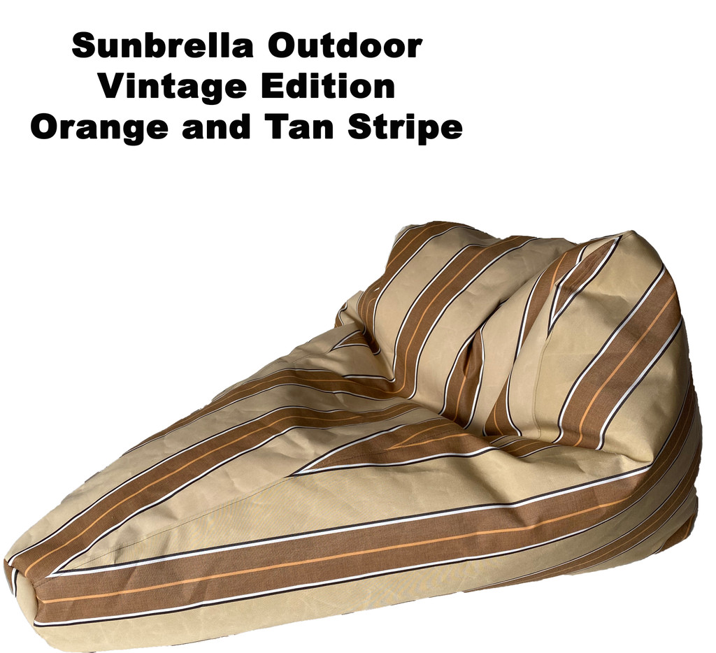 Sunbrella Outdoor Deluxe Vintage Edition Bean Bag In Orange and Tan