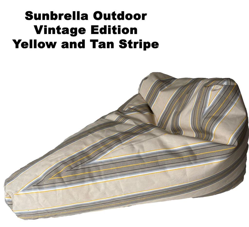 Sunbrella Outdoor Deluxe Vintage Edition Bean Bag In Yellow and Tan