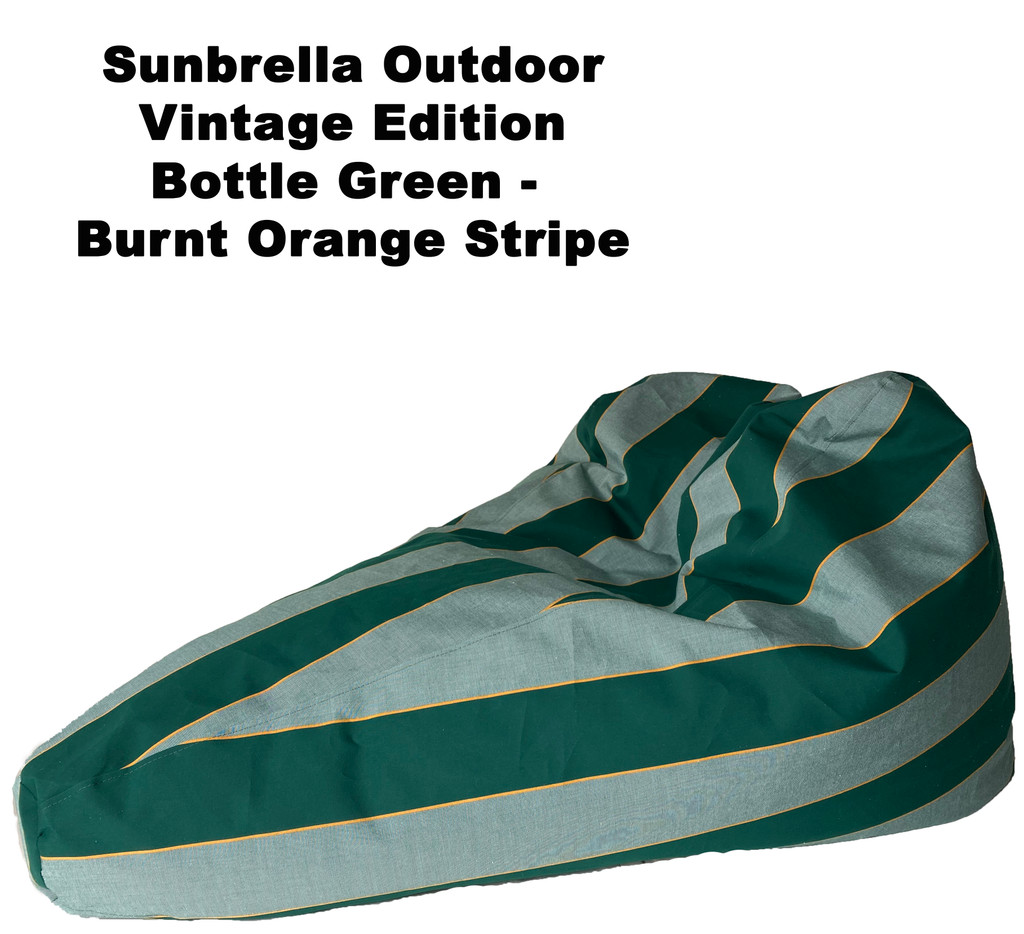 Sunbrella Outdoor Deluxe Vintage Edition Bean Bag In Bottle Green - Burnt Orange Stripe