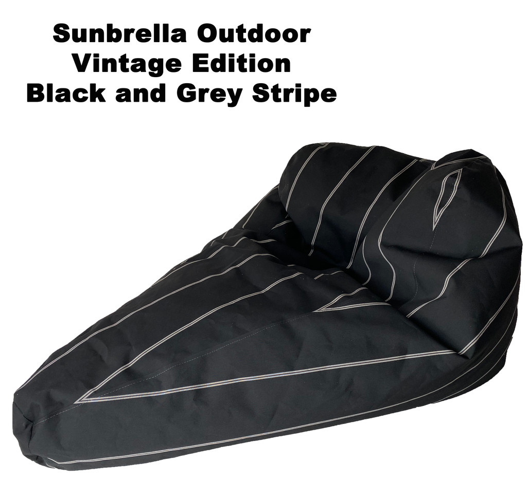 Sunbrella Outdoor Deluxe Vintage Edition Bean Bag In Black and Grey Stripe