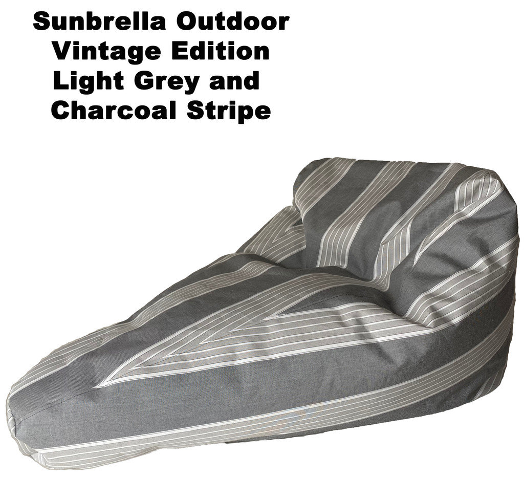Sunbrella Outdoor Deluxe Vintage Edition Bean Bag In Light Grey and Charcoal Stripe