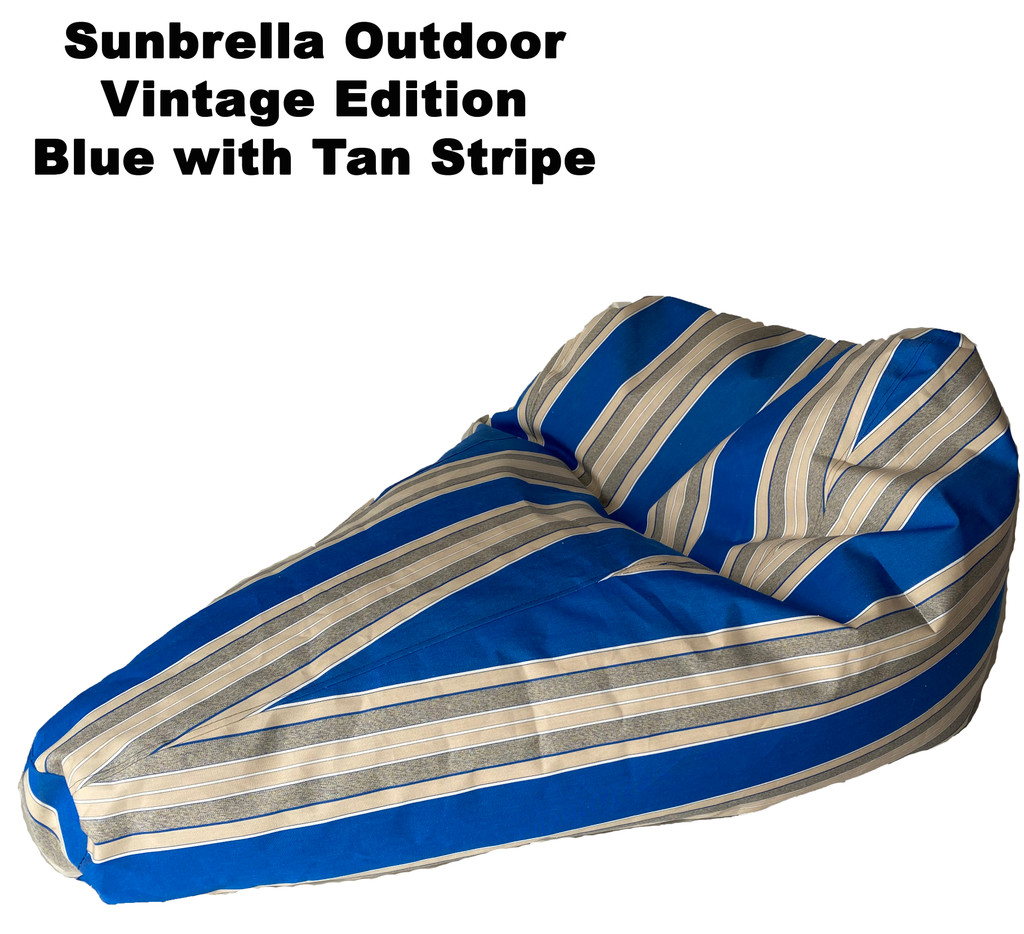 Sunbrella Outdoor Deluxe Vintage Edition Bean Bag In Blue with Tan Stripe