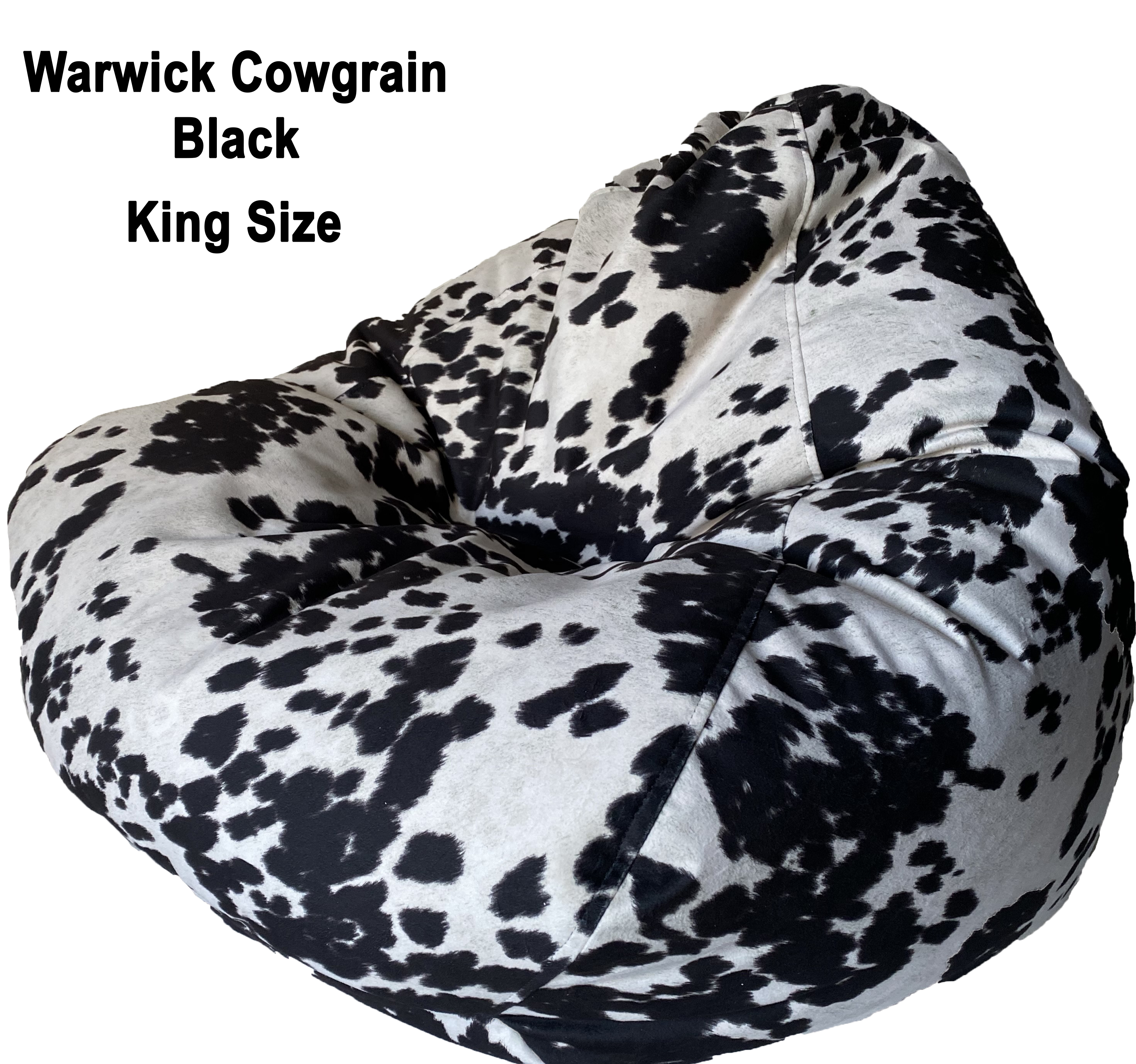 Cowhide King Bean Bag in black
