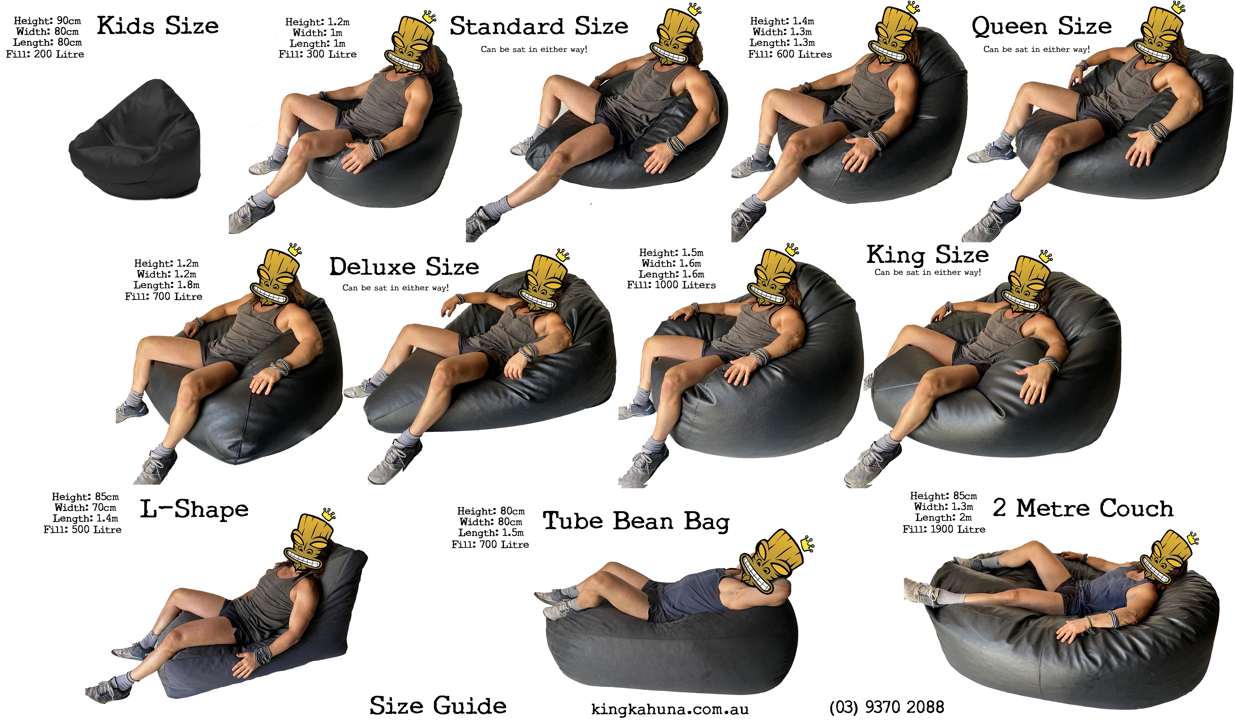 Classic King Size Bean Bag in assorted colours