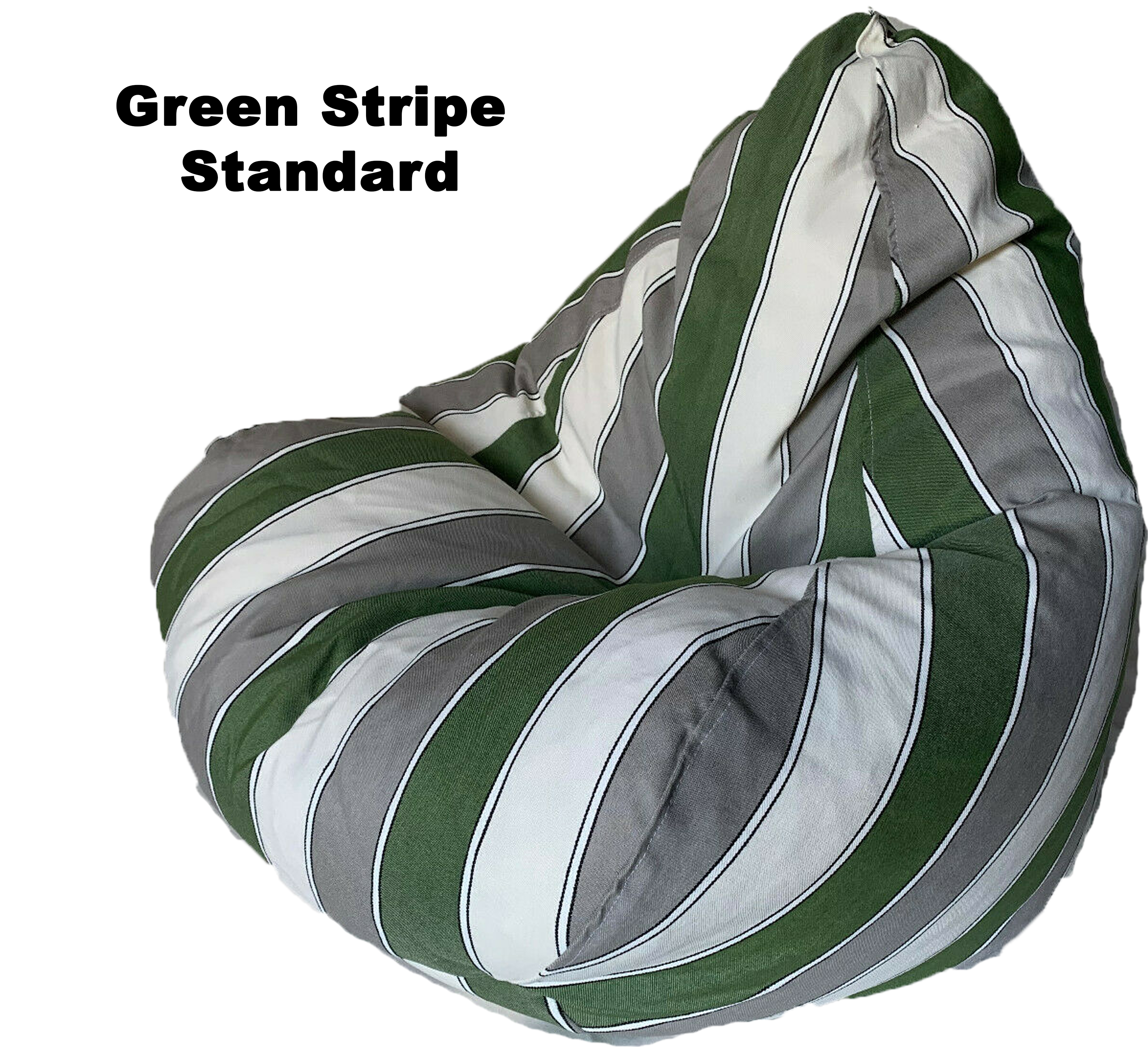 STRIPED CHARCOAL GREEN BEANBAG STANDARD SIZE