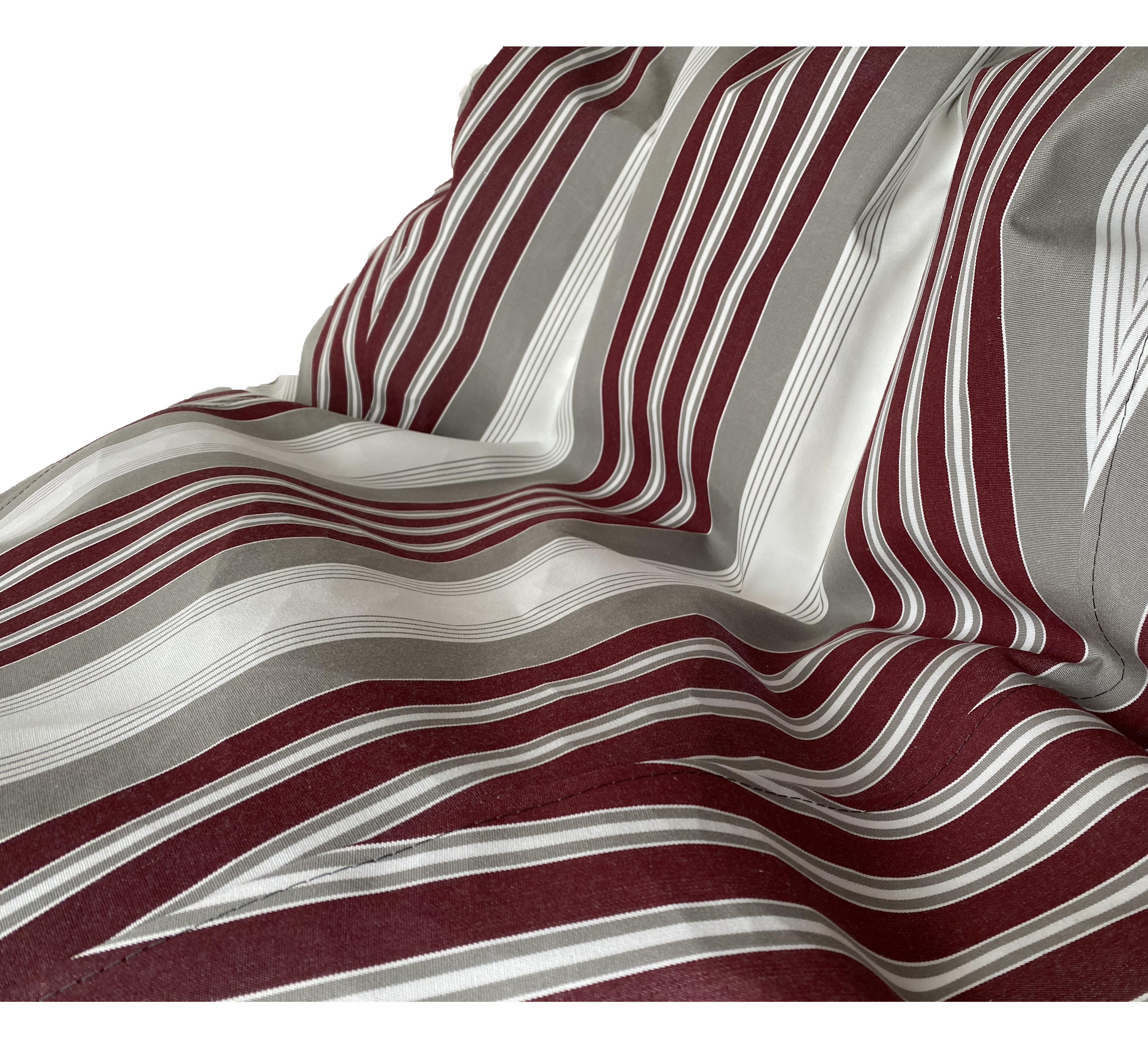 Sunbrella Outdoor Deluxe Vintage Edition Bean Bag In Clay and Off White with Burgandy Stripe