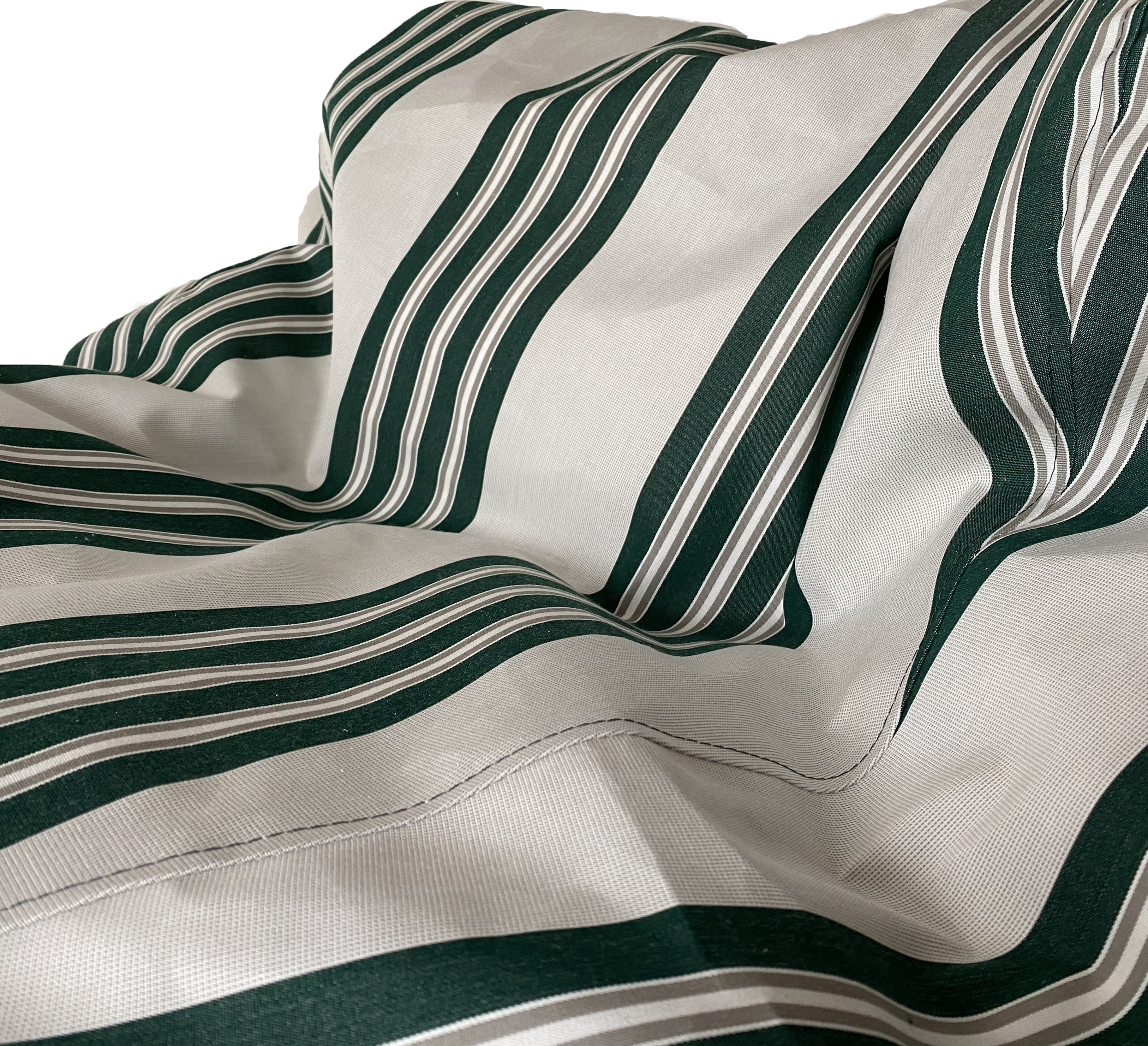 Sunbrella Outdoor Deluxe Vintage Edition Bean Bag In Off White with Bottle Green and Tan Stripe