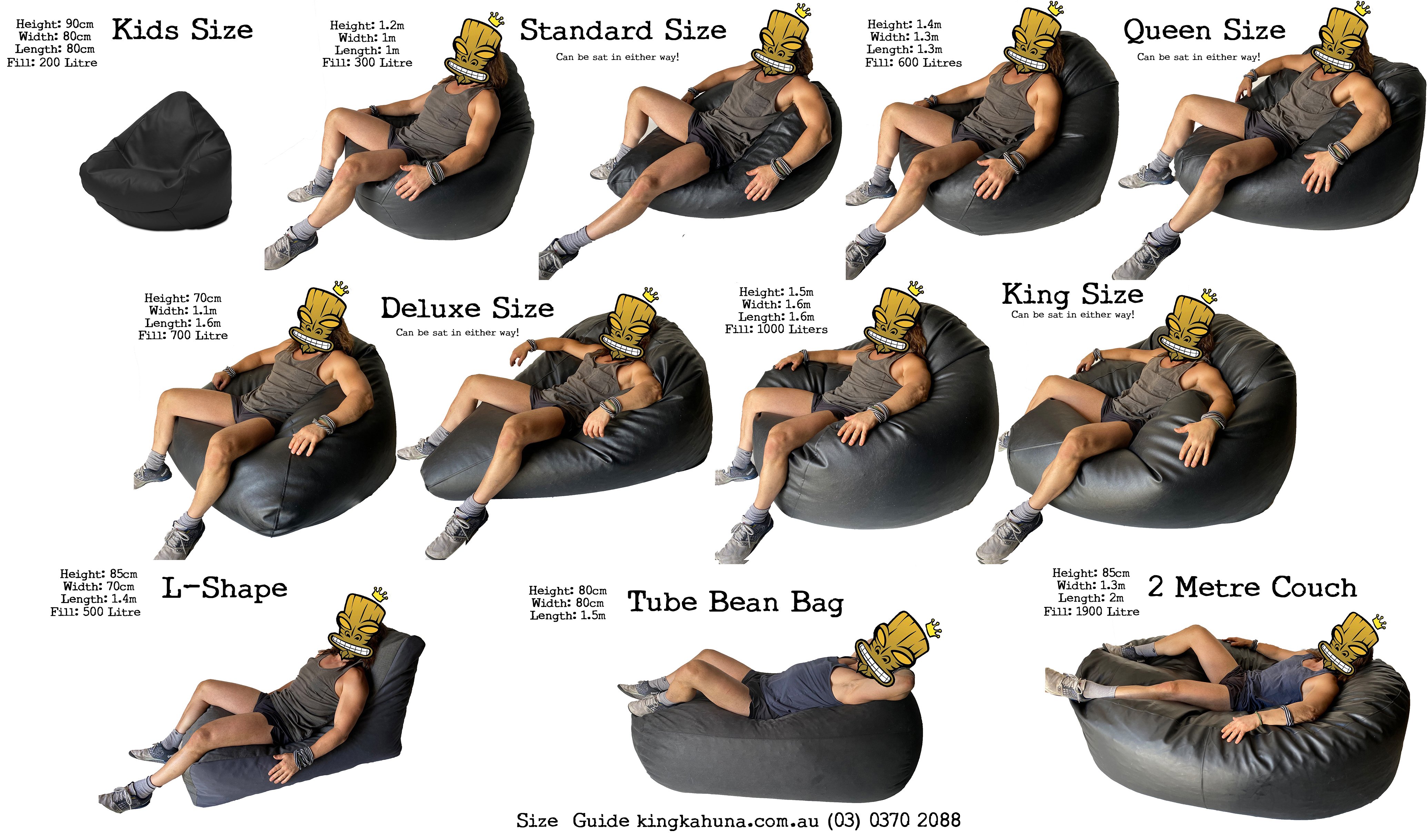 Warwick Rika King Size Bean Bag in assorted colours