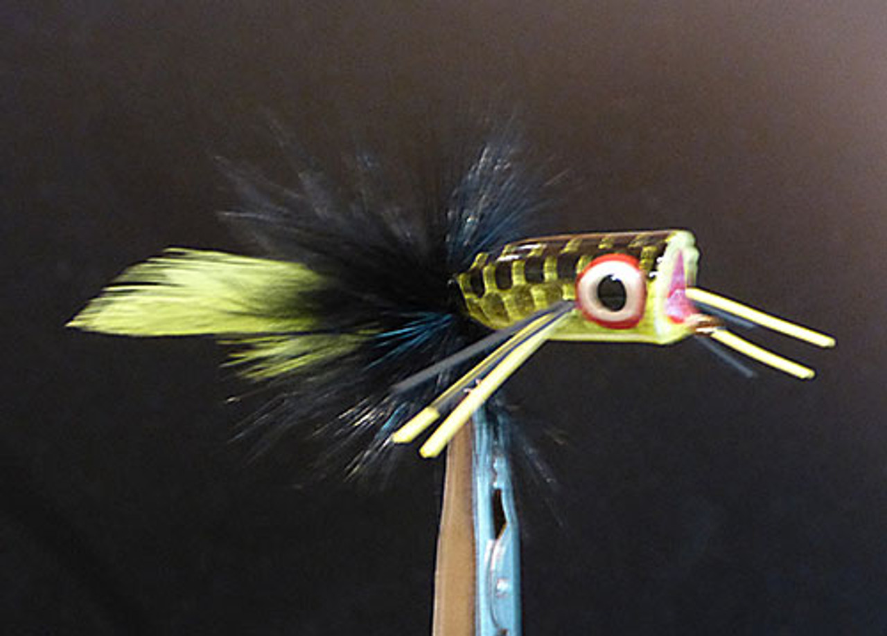 Mini Bass Popper Black over Chartreuse #2