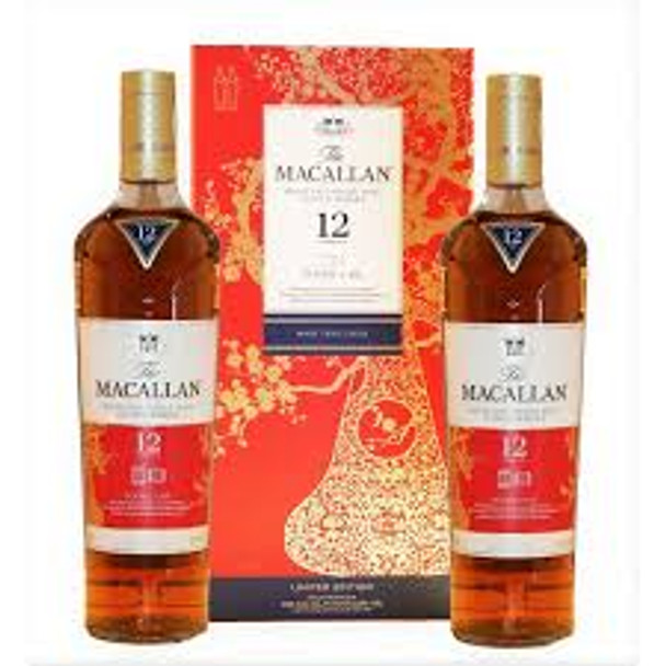 Macallan scotch single malt Chinese New Year pack double cask 12yr old 2x 750ml