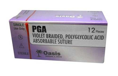 PGA Absorbable (Polyglycolic Acid) Suture, Sterile 2-0, 3-0 or 4-0 sizes
