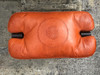 Handmade Moroccan Camel Saddle stool. Orange Leather Cushion
