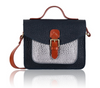 Navy blue small leather satchel bag metallic silver pocket