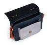 Navy/silver small leather satchel bag metallic silver pocket