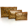 Set of 3 cosmetic bag set tan and metallic gold